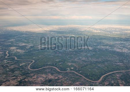 view from the airplane with winding river