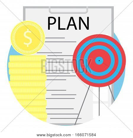 Successful business plan. Business goal and plan. objective stack of coin. Vector illustration web management organization
