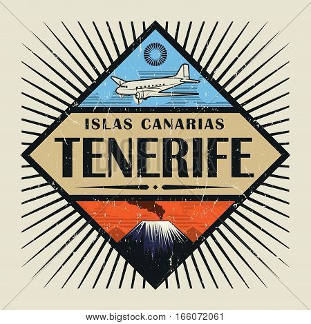 Stamp or vintage emblem with airplane volcano and text Tenerife Canary island (in spanish) vector illustration