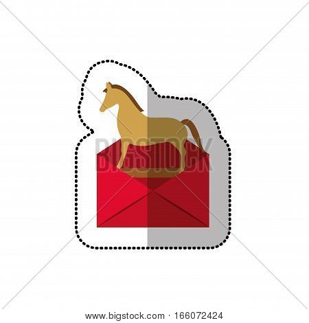 colorful middle shadow sticker of mail virus trojan horse vector illustration