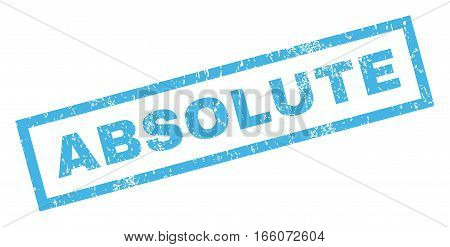Absolute text rubber seal stamp watermark. Tag inside rectangular banner with grunge design and dust texture. Inclined vector blue ink emblem on a white background.