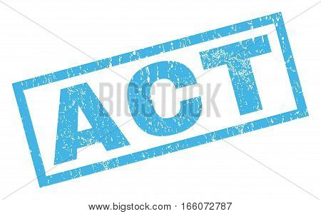 Act text rubber seal stamp watermark. Caption inside rectangular shape with grunge design and dust texture. Inclined vector blue ink sticker on a white background.