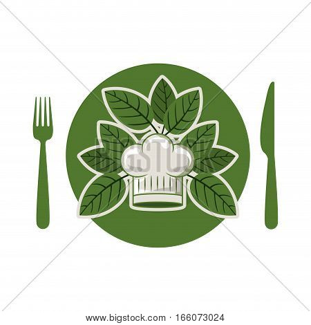 silhouette of dish with leaves and silverware and chef hat rounded vector illustration