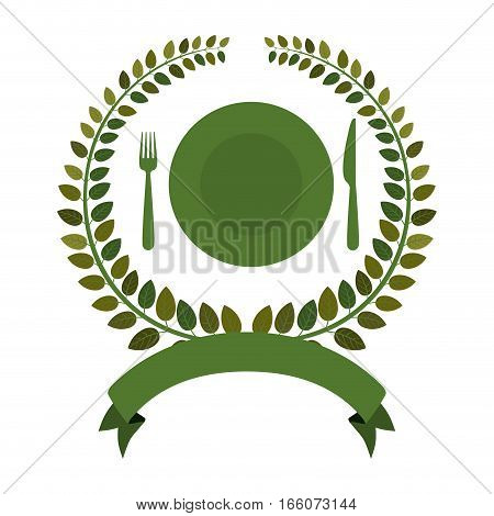 silhouette of crown leaves with dish and silverware and ribbon vector illustration