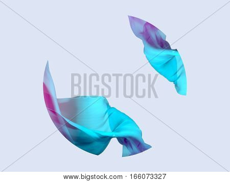 Abstract 3D Render Illustration. Flying Silk Fabric Wave Waving Satin. Blue Pink and Pastel Lilac Colors.