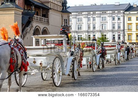 KRAKOW POLAND - November 05 2016: Horse carriage on the Main Market Square as a tourist attraction.