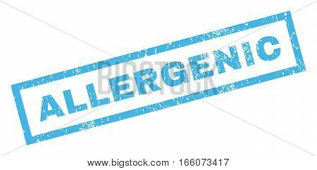 Allergenic text rubber seal stamp watermark. Tag inside rectangular shape with grunge design and unclean texture. Inclined vector blue ink emblem on a white background.