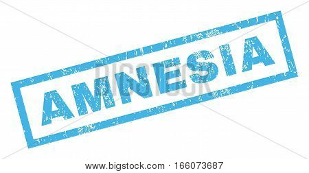 Amnesia text rubber seal stamp watermark. Tag inside rectangular banner with grunge design and unclean texture. Inclined vector blue ink emblem on a white background.