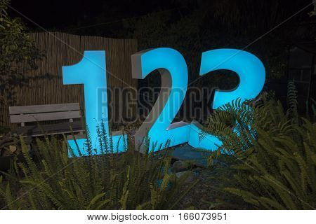 Decorative Led Light Sign With The Numbers 123