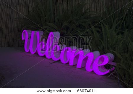 Decorative Letters Led Light Sign With The Word Welcome