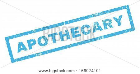 Apothecary text rubber seal stamp watermark. Caption inside rectangular banner with grunge design and scratched texture. Inclined vector blue ink sign on a white background.