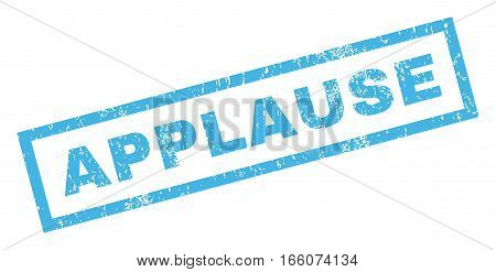 Applause text rubber seal stamp watermark. Tag inside rectangular banner with grunge design and scratched texture. Inclined vector blue ink sign on a white background.