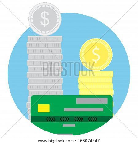 Money stack coins and credit card. Banking savings wealth investment. Vector illustration