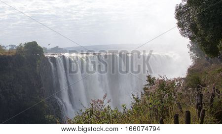 Beautiful Victoria Falls thundering loudly in Zimbabwe