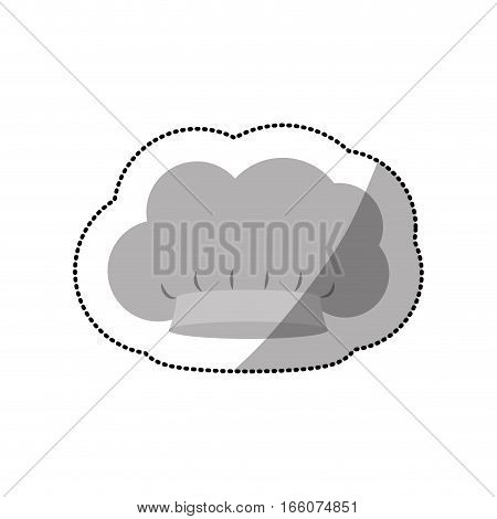 dotted sticker of chefs hat in cumulus shape vector illustration