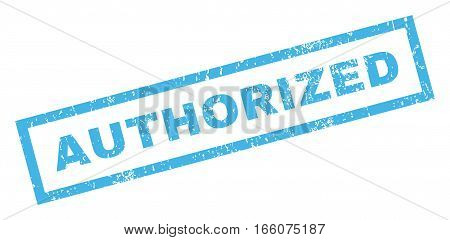 Authorized text rubber seal stamp watermark. Tag inside rectangular shape with grunge design and dirty texture. Inclined vector blue ink emblem on a white background.