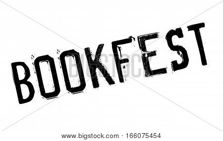 Bookfest rubber stamp. Grunge design with dust scratches. Effects can be easily removed for a clean, crisp look. Color is easily changed.
