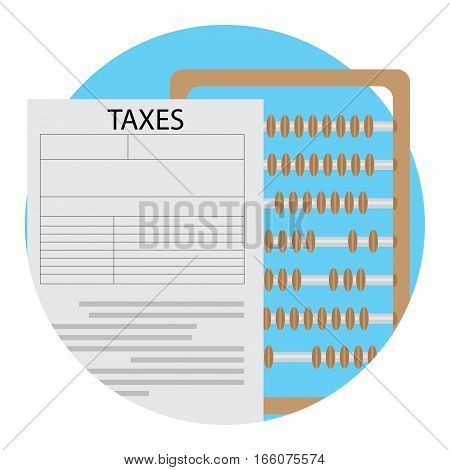 Count tax icon vector. Counting tax with abacus. badge label illustration