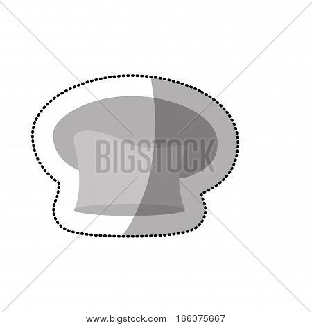silhouette dotted sticker of oval chefs hat in gray scale
