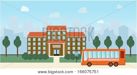 Bright flat illustration of school building and school bus for back to school banner or poster design