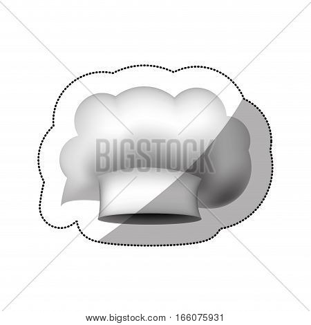 realistic silhouette sticker of chefs hat in irregular cumulus shape vector illustration