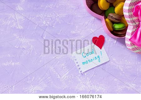 Leaf Notebook Inscription Good Morning On Purple Table Top. The Cozy Breakfast Or Mother's Day. Copy