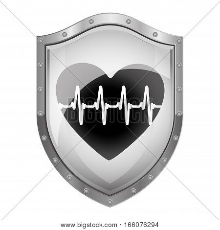 metallic shield with heartbeat frequency vector illustration