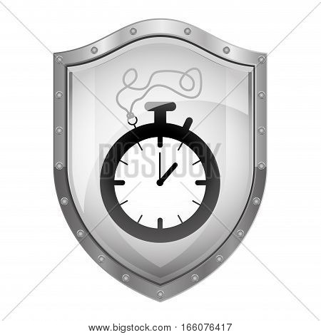 metallic shield with chronometer with cord vector illustration
