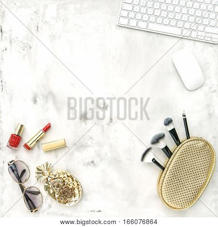 Fashion accessories cosmetics notebook. Flat lay for feminine website blogger social media