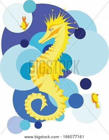 Vector illustration with seahorse, two fishes on the abstract background
