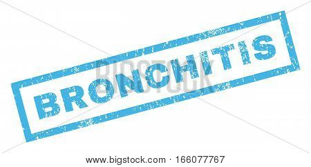 Bronchitis text rubber seal stamp watermark. Caption inside rectangular banner with grunge design and scratched texture. Inclined vector blue ink emblem on a white background.