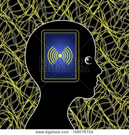 Electromagnetic Pollution. Electrosmog affecting the health of woman