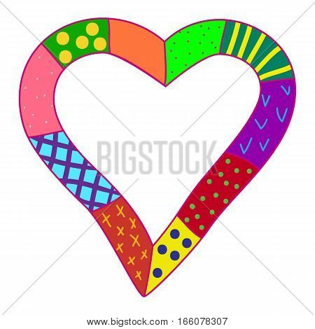 Vector frame made of hand drawn bright whimsical heart. Space for text.