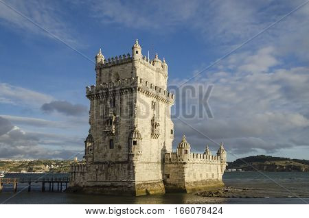 rear view of the belem tower at sunset symbol of lisbon