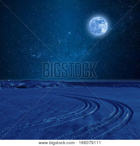 Night Landscape With Tire Trace