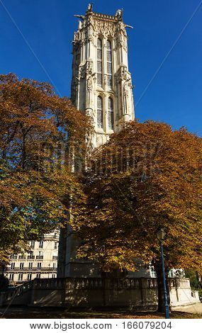 Saint-Jacques Tower (Tour Saint-Jacques) is a monument located in the 4th arrondissement of Paris France on Rue de Rivoli at Rue Nicolas Flamel. This 52-meters Flamboyant Gothic tower is all that remains of the former 16th-century Church of Saint-Jacques