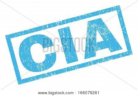 CIA text rubber seal stamp watermark. Tag inside rectangular shape with grunge design and scratched texture. Inclined vector blue ink emblem on a white background.