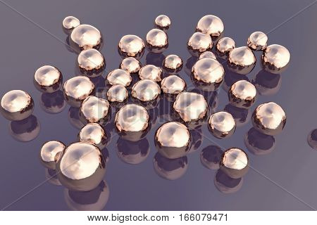 Copper nanoparticles, 3D illustration. Nanotechnology, scientific and research background