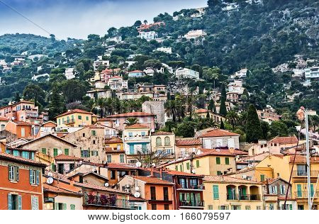 Coastal village in the harbor town of VilleFranche near Nice France.