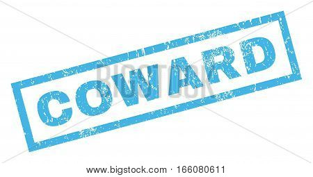 Coward text rubber seal stamp watermark. Caption inside rectangular banner with grunge design and dust texture. Inclined vector blue ink sticker on a white background.