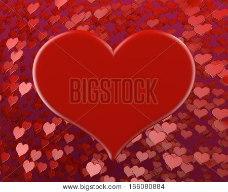 happy valentine's day many red hearts background 3D illustration