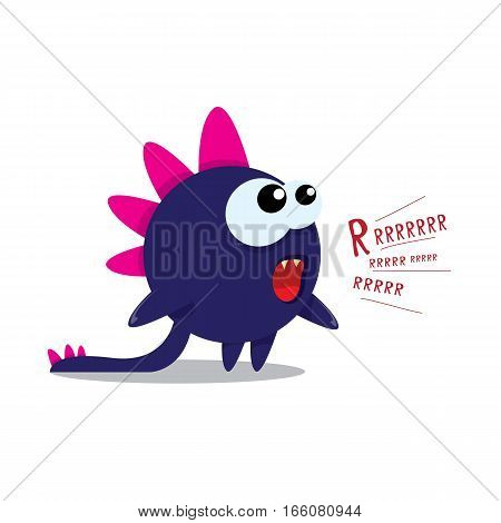 Vector cartoon funny dragon isolated on white. Cartoon cute monster Dinosaur on white