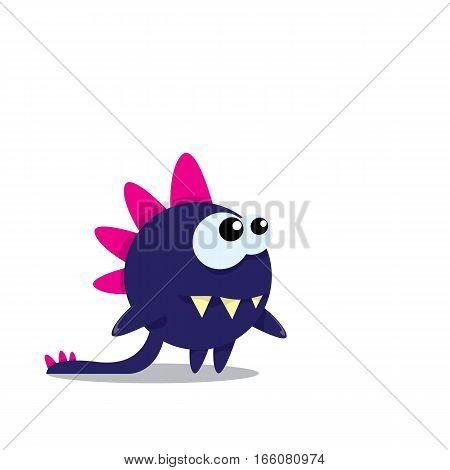 Vector cartoon funny dragon isolated on white. Cartoon cute monster Dinosaur on white