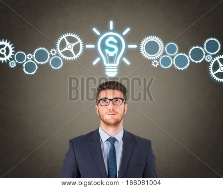 Concept of finance and innovation with light bulb