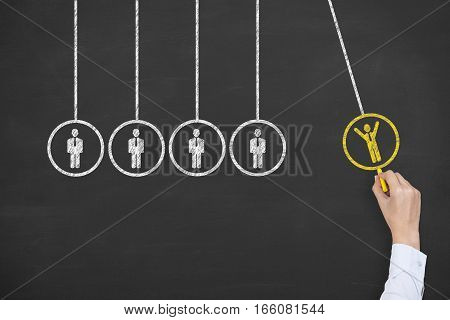 Human Hand Drawing Recruitment Innovation Concepts on Blackboard Background