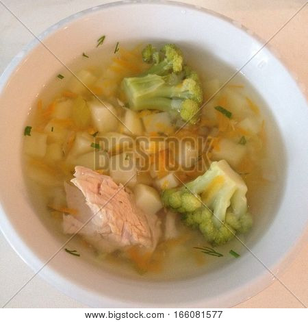 delicious and mouth-watering still life: a bowl of hot soup with vegetables and chicken