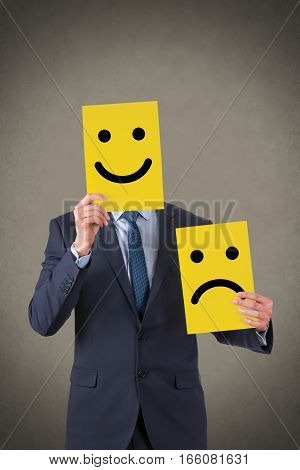Unhappy and Happy Concepts Working Human Face