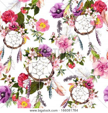 Dream catcher, flowers, feathers. Seamless pattern Watercolor floral background