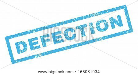 Defection text rubber seal stamp watermark. Tag inside rectangular banner with grunge design and scratched texture. Inclined vector blue ink sign on a white background.