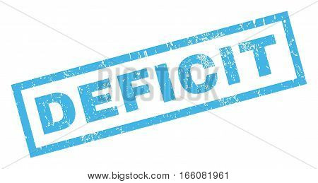 Deficit text rubber seal stamp watermark. Tag inside rectangular shape with grunge design and unclean texture. Inclined vector blue ink emblem on a white background.
